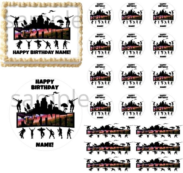 Fortnite Logo Sign Fighters Edible Cake Topper Image Cupcakes Cake Topper Fortnite