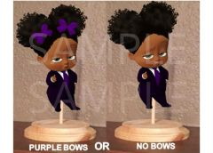 PRE CUT African American Sassy Boss Baby Girl Purple Bows Centerpiece with Wood Stand OR Card Stock Cut Out