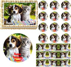 Puppy and Kitten Edible Cake Topper Image Frosting Sheet Cake Decoration Cupcakes Cookies