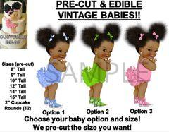 PRE-CUT Ruffle Pants Afro Puffs Baby EDIBLE Cake Topper Image Sneakers Ruffles