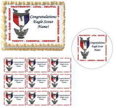 Eagle Scout Court of Honor Scout Law Edible Cake Topper Image Frosting Sheet