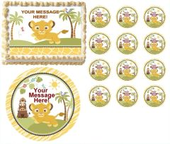 Lion SWEET CIRCLE OF LIFE First Birthday Baby Shower Edible Cake Topper Image Frosting Sheet