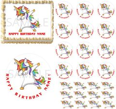 Rainbow Dabbing Unicorn EDIBLE Cake Topper Image Cupcakes Unicorn Dabbing Party