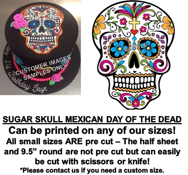 Mexican Sugar Skull Edible Cake Topper Image Cupcakes Day