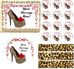 Bachelorette HIGH HEEL SHOE Cheetah Theme Edible Cake Topper Image Frosting Sheet
