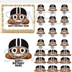 Football Poop Emoji EDIBLE Cake Topper Image Cupcakes Poop Helmet Football Cake