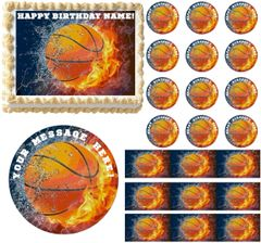 BASKETBALL on FIRE Water Sports Edible Cake Topper Image Frosting Sheet