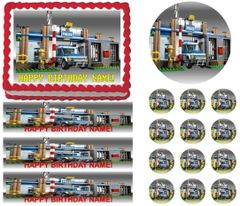 Lego POLICE CITY Police Station Edible Cake Topper Image Frosting Sheet