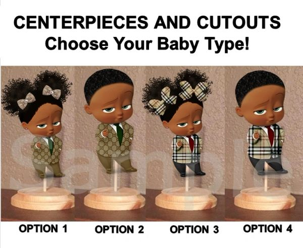Pre Cut Designer Suit Afro Boss Baby Girl or Boy Centerpieces with Wood Stand OR Card Stock Cut Out, Babies of Color Boss Centerpieces, Boss Gucci, Boss Burberry