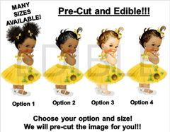 PRE-CUT Sunflower Yellow Tulle Party Dress Baby Girl EDIBLE Cake Topper Image Cupcakes