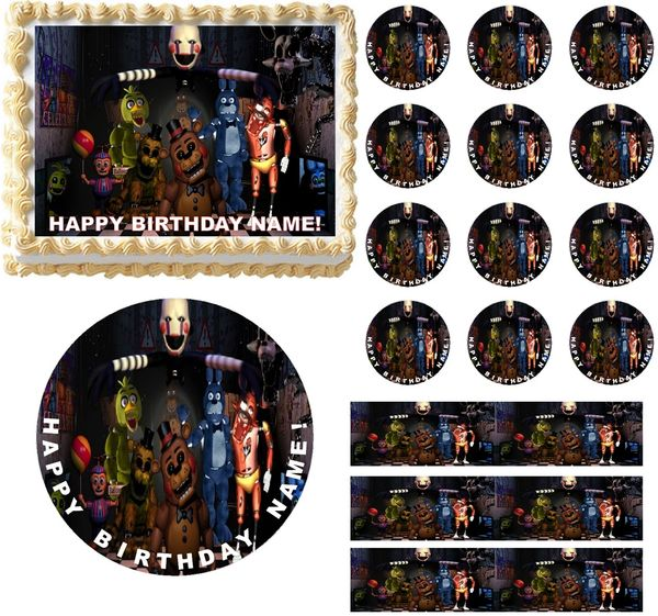 Five Nights At Freddy S Characters Edible Cake Topper