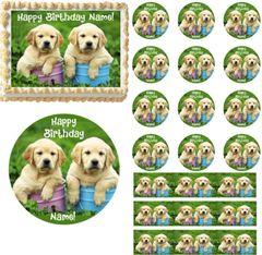 Labrador Retriever Puppies EDIBLE Cake Topper Image Cupcakes Frosting Sheet