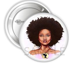 "African Diva Queen Woman Pinback Buttons, 2.25"" Party Favor Buttons, African American Diva Queen, Personalized Buttons, African Woman Pins"