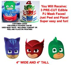 PJ Masks Edible Cake Stickers PJ Masks Edible Head Cut Outs Edible Cake Image