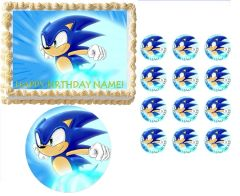 SONIC the HEDGEHOG Running Edible Cake Topper Image Frosting Sheet Cake Decoration