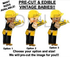 PRE-CUT Yellow and Black Construction Baby Boy EDIBLE Cake Topper Image