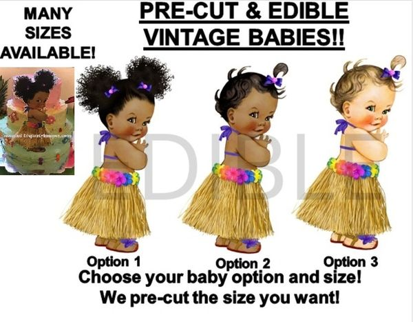 PRE-CUT Hawaiian Luau Grass Skirt Baby Girl EDIBLE Cake Topper Image Cupcakes