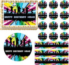 Retro DISCO BALL DANCE Let's Dance Edible Cake Topper Image Frosting Sheet
