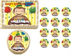 Curious George with Cake Edible Cake Topper Image Frosting Sheet