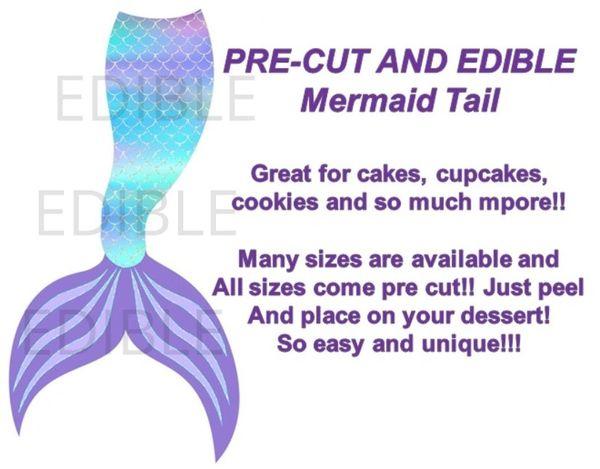 Pre Cut Mermaid Tail Turquoise Teal Purple EDIBLE Cake Topper Image Cupcakes