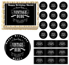 VINTAGE DUDE No Age Edible Cake Topper Image Frosting Sheet
