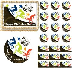 EXTREME BMX Bicycle Dirt Bike Edible Cake Topper Image Frosting Sheet