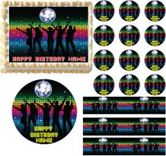 DISCO DANCE Party Disco Ball Edible Cake Topper Image Frosting Sheet