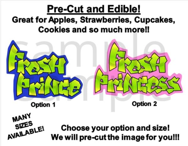 90's Hip Hop Fresh Prince Fresh Princess EDIBLE PRE CUT Stickers Decals for Desserts