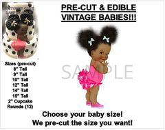 PRE-CUT Hot Pink Polo Ponies Ruffle Pants Afro Puffs Baby EDIBLE Cake Topper Image