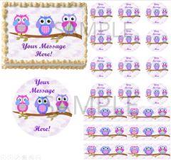 Owls on Tree Branch EDIBLE Cake Topper Image See Hear Speak No Evil Cake Owl