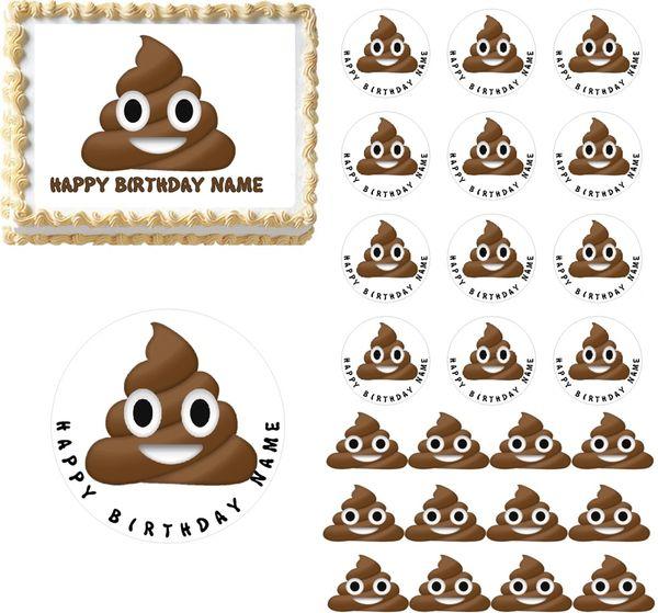 Poop Emoji Edible Cake Topper Image Cupcakes
