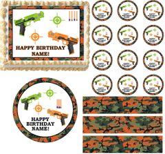 Nerf DART GUNS Camo Edible Cake Topper Image Frosting Sheet Cake Decoration