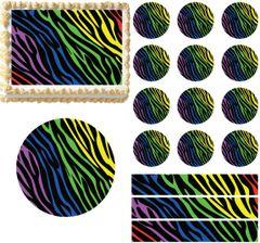 Rainbow Zebra Print Edible Cake Topper Image Cake Decoration Cupcakes Cookies