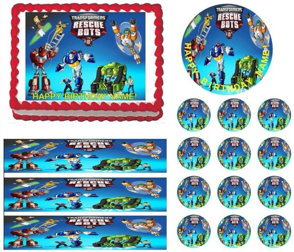 TRANSFORMERS RESCUE BOTS Edible Cake Topper Image Frosting Sheet