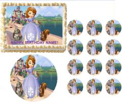 SOFIA the PRINCESS and Friends Castle Edible Cake Topper Image Frosting Sheet