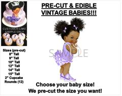 PRE-CUT Lavender Purple Ruffle Pants Afro Puffs Baby EDIBLE Cake Topper Image Purple Nikes