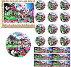 SPLATOON 2 Paintball Edible Cake Topper Image Frosting Sheet Cupcakes