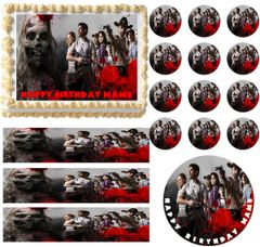 Walking Dead Cast Zombies Edible Cake Topper Image Frosting Sheet