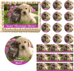 Adorable PUPPY and KITTEN Theme Edible Cake Topper Image Frosting Sheet