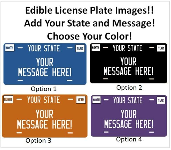 License Plate Sweet Sixteen Your State License Plate Edible Cake Topper Image Sugar Sheet, License Plate Cake, Sweet 16 Cake, Driving Party