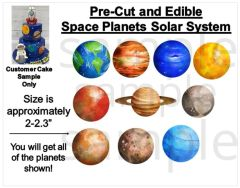 Space Solar System Planets Edible PRE CUT Stickers Decals Space Cake Planets Cake