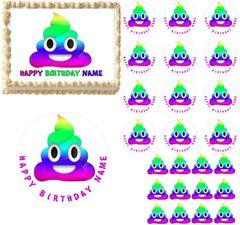 Rainbow Poop Emoji Edible Cake Topper Image Cupcakes Rainbow Poop Cake Edibles
