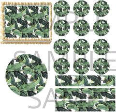 Green Banana Palm Leaves EDIBLE Cake Topper Print Cupcakes Cake Strips Wraps
