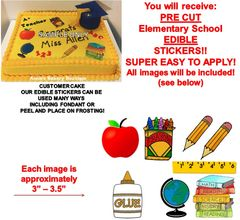 Elementary School Edible Cake Stickers Edible School Clipart Cutouts Decoration