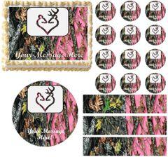 Mossy Oak Pink Mossy Oak WEDDING BUCK DOE Edible Cake Topper Image Frosting Sheet