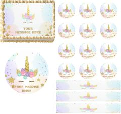 Magical Unicorn Face Flowers EDIBLE Cake Topper Image Frosting Sheet Cupcakes