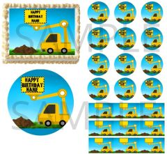 Excavator Truck Construction EDIBLE Cake Topper Image Cupcakes Construction Cake