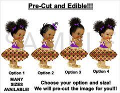PRE-CUT Purple and Gold Kente Print Dress African Princess EDIBLE Cake Topper Image Cupcakes