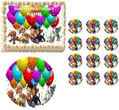 PAW PATROL BALLOON Image Edible Cake Topper Image Frosting Sheet