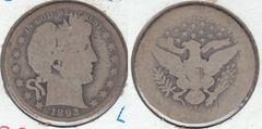 SCARCE KEY DATE 1893S BARBER HALF DOLLAR